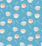 Vector pattern of tea and coffee mugs with plant elements. Illustration on blue background. Vector seamless pattern on a blue background. Mugs of a cup with Stock Photography
