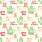 Vector pattern with teapots, tea mugs and coffee cups Royalty Free Stock Photos
