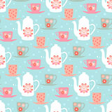 Vector pattern with teapots, tea mugs and coffee cups Stock Image
