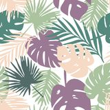 Vector pattern with tropical leaves Royalty Free Stock Photo