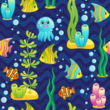 Vector Pattern with underwater design and funny sea creatures. Pattern with underwater design and funny sea creatures Stock Photos