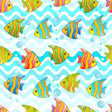 Vector Pattern with underwater design and funny sea creatures Stock Photography