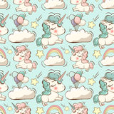 Vector pattern with unicorn, clouds and rainbow. Vector pattern with cute unicorns, clouds,rainbow and stars. Magic background Stock Illustration