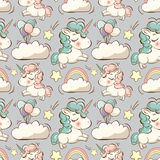 Vector pattern with unicorn, clouds and rainbow Stock Image