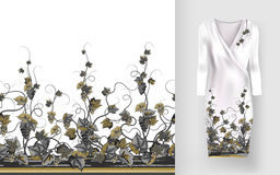 Vector pattern of vines with leaves and berries on classic women`s dress mockup. Stock Photos