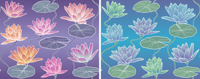 Vector Pattern Waterlily Royalty Free Stock Photo