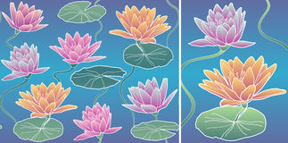 Vector Pattern Waterlily Royalty Free Stock Image