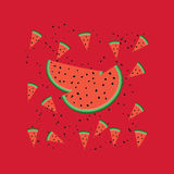 Vector pattern with watermelon slices. Cute  pattern with watermelon slices Stock Photos