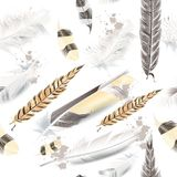 Vector pattern with white beige feathers. Vector pattern with white and beige feathers vector illustration
