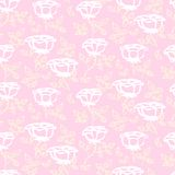 Vector pattern with white hand drawn rose flowers. Vintage floral vector pattern with small white hand drawn rose flowers on soft pink background Royalty Free Stock Photo