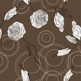 Vector pattern with white roses Royalty Free Stock Photography