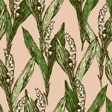 Background of lilies of the valley. Vector pattern of the wild lilies Stock Photo