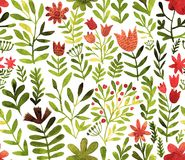 Free Vector Pattern With Flowers And Plants. Floral Decor. Original Floral Seamless Background. Bright Colors Watercolor Stock Photo - 102630390