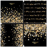 Vector Pattern With Gold Hearts On Black Background Royalty Free Stock Photos