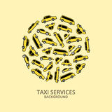 Vector Pattern of yellow taxi cars in round shape Stock Photos