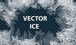 Vector Patterns Made by the Frost. Blue Winter Background for Christmas Designs. Typographic Label for Xmas Holiday. Greeting Cards, Party Banners and Posters royalty free illustration