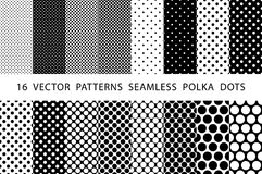 16 VECTOR PATTERNS SEAMLESS POLKA DOTS set Black and white. 16 VECTOR PATTERNS SEAMLESS POLKA DOTS set art Black and white Royalty Free Illustration