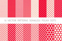 16 VECTOR PATTERNS SEAMLESS POLKA DOTS set red background Royalty Free Stock Photos