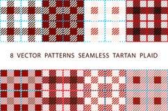 8 VECTOR PATTERNS SEAMLESS TARTAN PLAID brown set stock illustration