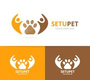 Vector paw and people logo combination. Pet and family symbol or icon. Unique vet and union, help, connect, team. Vector logo or icon design element for Royalty Free Stock Photo