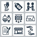 Vector pawnshop icons set Royalty Free Stock Photo