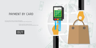 Vector payment by card concept illustration. Royalty Free Stock Photo