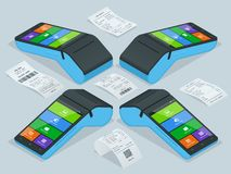 Vector payment machine and cash receipt. POS terminal confirms the payment by debit credit card, invoce. Vector. Illustration in flat design. NFC payments vector illustration