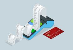 Vector payment machine and credit card. POS terminal confirms the payment by debit credit card, invoce. Vector. Illustration in flat design. NFC payments vector illustration
