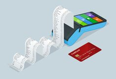 Vector payment machine and credit card. POS terminal confirms the payment by debit credit card, invoce. Vector. Illustration in flat design. NFC payments stock illustration
