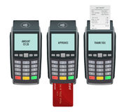 Vector payment machine and credit card. POS terminal confirms the payment by debit credit card, invoce. Vector Royalty Free Stock Image