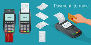 Vector payment machine and credit card. POS terminal confirms the payment by debit credit card, invoce. Vector. Illustration in flat design. NFC payments Royalty Free Stock Images