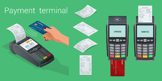 Vector payment machine and credit card. POS terminal confirms the payment by debit credit card, invoce. Vector Stock Photography
