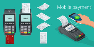 Vector payment machine and credit card. POS terminal confirms the payment by debit credit card, invoce. Vector Stock Photos