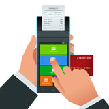 Vector payment machine and credit card. POS terminal confirms the payment by debit credit card, invoce. Vector Royalty Free Stock Images