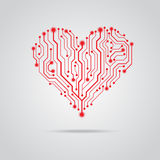 Vector PCB red heart design. Red heart circuit board design Royalty Free Stock Images