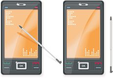 Vector PDA and stylus. Vector image. PDA and stylus in two views Stock Image