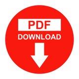 Vector Pdf file download button red color icon. Simple vector illustration of Pdf file download button red color icon on white background Stock Image