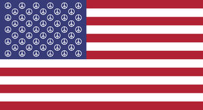 Vector. Peace symbol on a background of the US flag. Stock Images