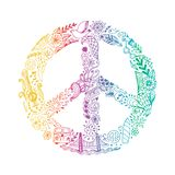 Vector peace symbol made of hippie theme doodle handdrawn icons, pacifism sign. Hippie style ornamental background. Love Stock Photography