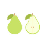Vector pear fruit icon set. Isolated on white. A pear illustrations set with two different versions. One with a whole pear, other with a pear cut open Stock Image