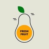 Vector pear tag. Logo, icon fresh fruit. Pear tag Vector illustration Stock Photos
