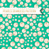Vector pearls seamless pattern on color background Royalty Free Stock Photography