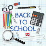 Vector pen, calculator and other school supplies. Royalty Free Stock Photography