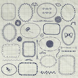 Vector Pen Drawing Borders decorativo, marcos, elementos Fotografía de archivo