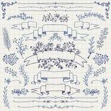 Vector Pen Drawing Floral Design Elements, cintas Imagenes de archivo