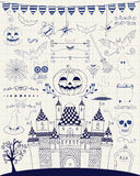 Vector Pen Drawing Hand Sketched Doodle Halloween. Hand Sketched Doodle Halloween Icons Set. Cartoon Characters. Decorative Design Elements, Dividers, Swirls Royalty Free Stock Photography