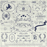 Vector Pen Drawing Rustic Floral Design Elements Royalty Free Stock Image