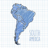 Vector pen hand drawn South America map on paper Stock Photo