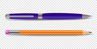 Vector Pen and Pencil Isolated on Transparent Background. royalty free illustration