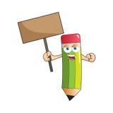 Vector Pencil Banner Mascot Stock Images